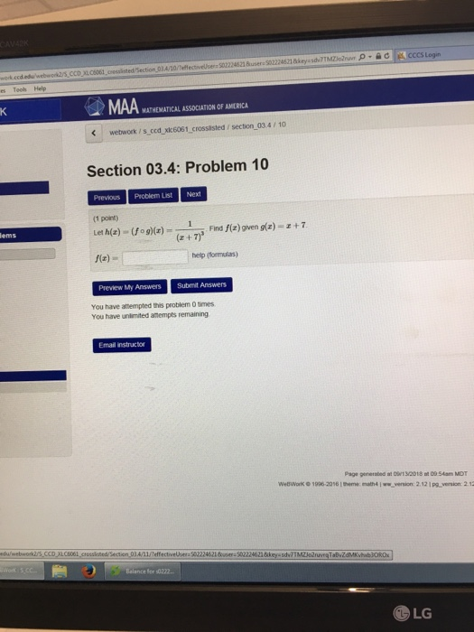 Solved: Cccs Login 034/10 Es Tooh Help MAA MATHEMATICAL AS