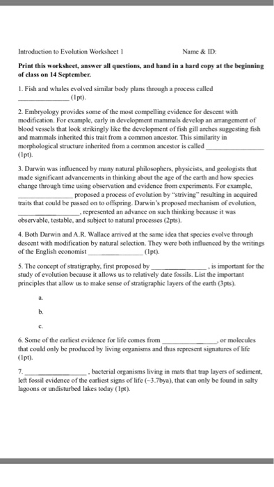 introduction to evolution worksheet 1 name id print this worksheet answer all questions - Evolution Worksheet