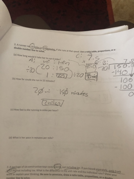 Solved: 2  A Runner Raf 20 Double Number Line To Solve  If