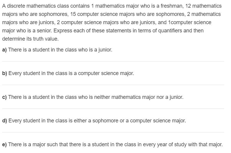 A discrete mathematics class contains 1 mathematics major who is a freshman, 12 mathematics majors who are sophomores, 15 com