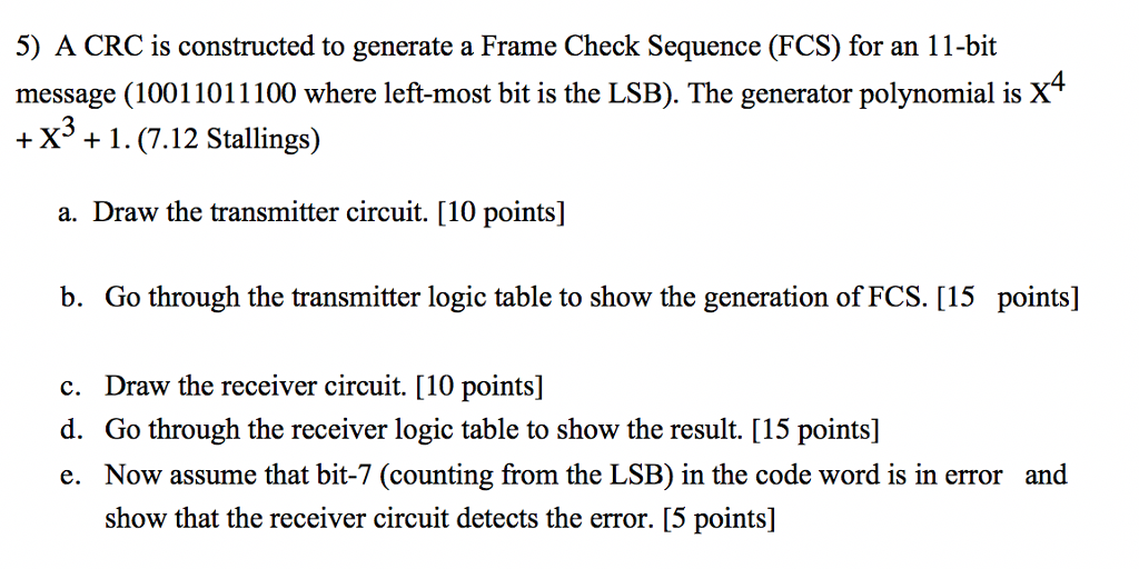 Solved: 5) A CRC Is Constructed To Generate A Frame Check ...