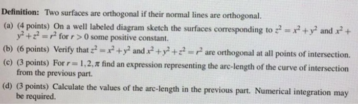 solved definition two surfaces are orthogonal if their n