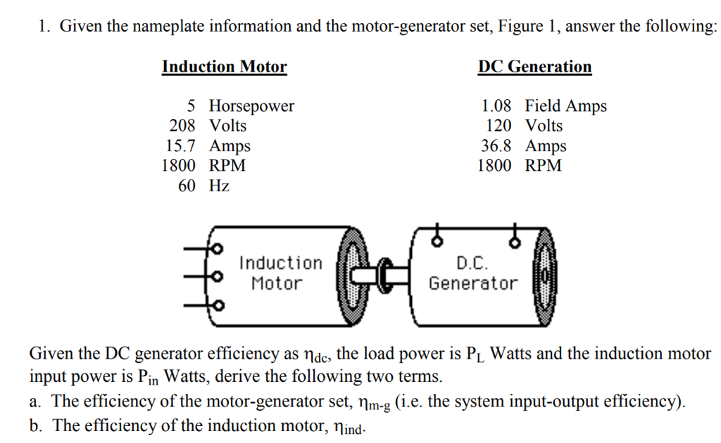 Solved: 1  Given The Nameplate Information And The Motor-g