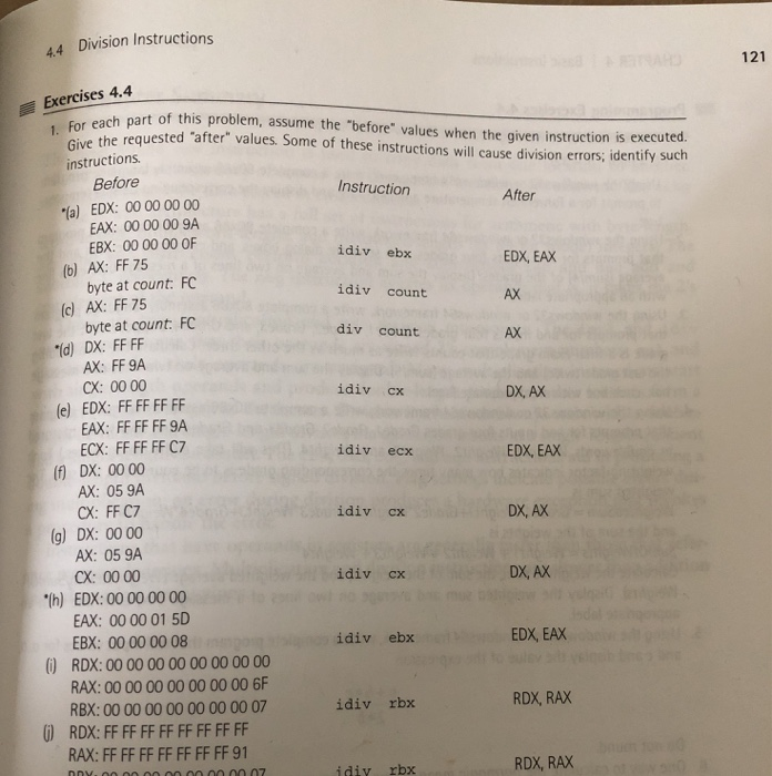 44 Division Instructions 121 Exercises 44 Or Each Chegg