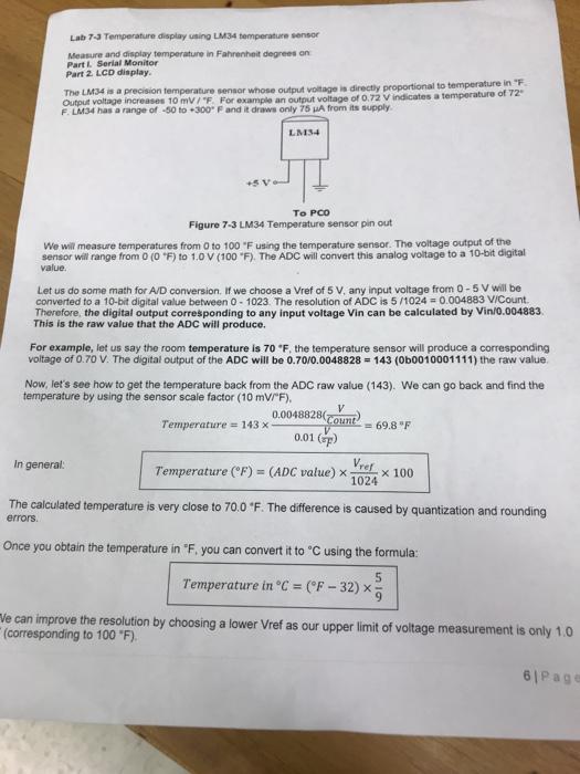 Solved: Lab 7-3 Temperature Display Using LM34 Temperature