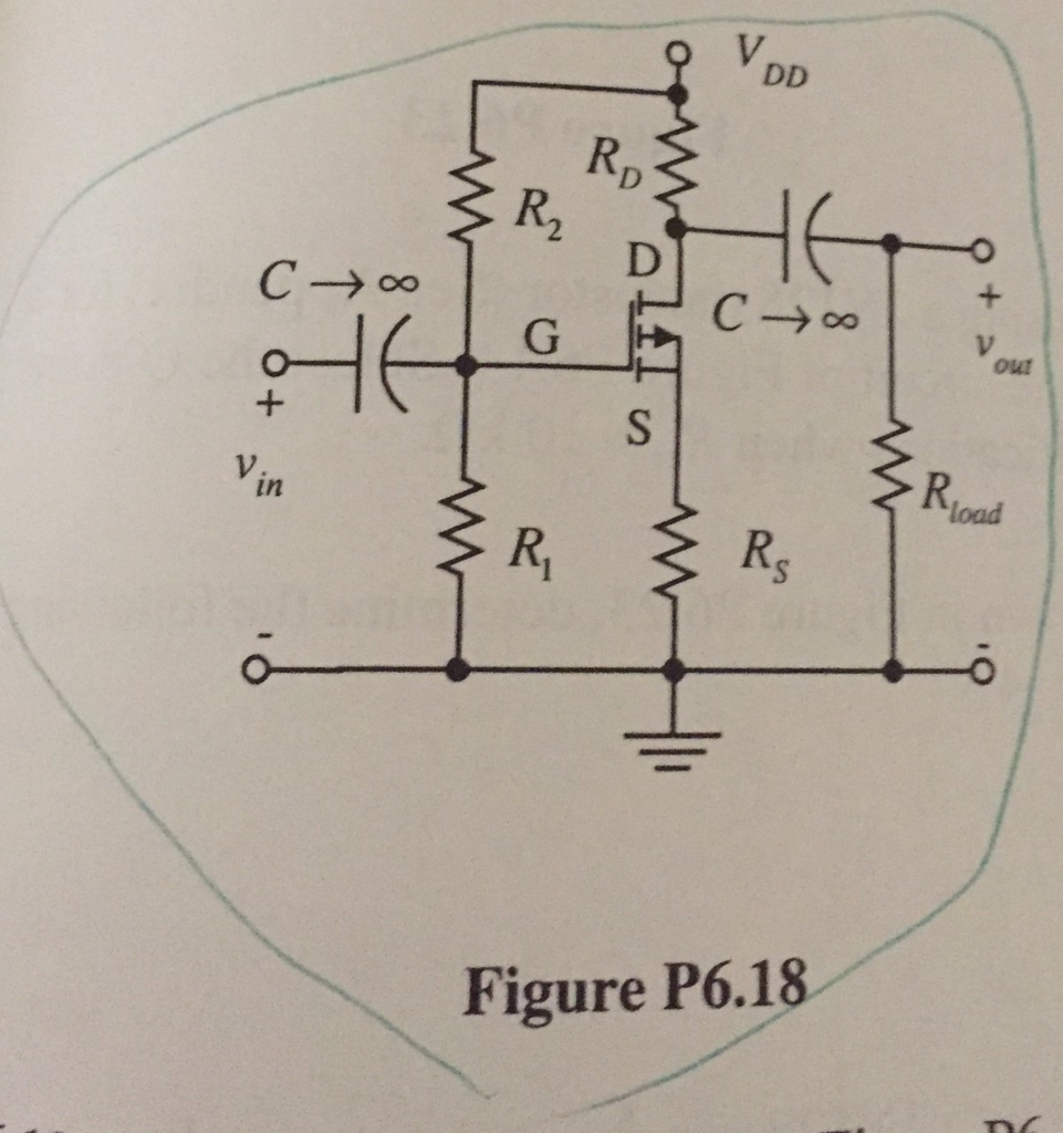 Solved 620 Design A Cs P Channel Mosfet Amplifier With Circuit Diagram 5 K2 Load Using The Shown In Figure P618