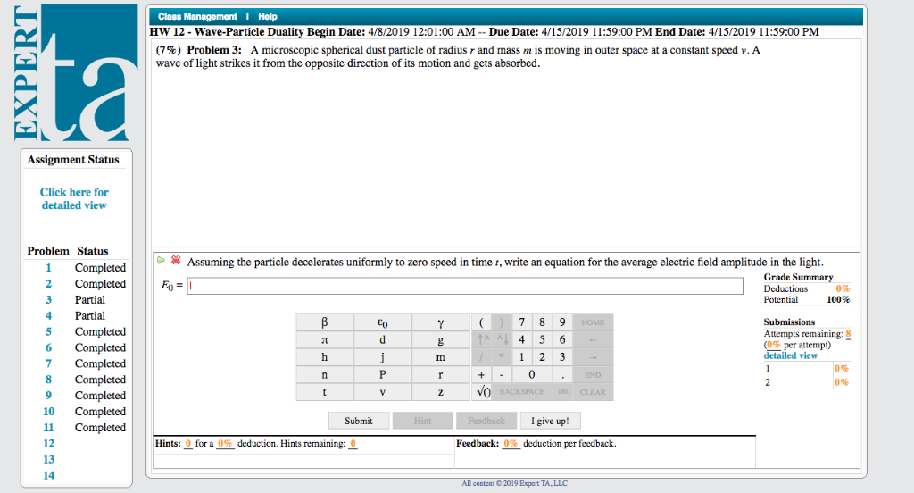 I Help HW 12 - Wave-Particle Duality Begin Date: 4      Chegg com