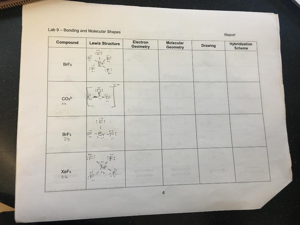 Solved Lab 9 Bonding And Molecular Shapes Report Hybrid Chegg Com
