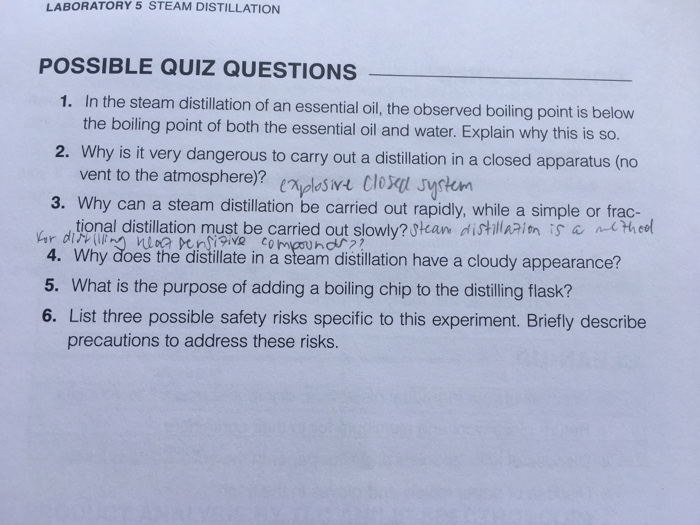 LABORATORY 5 STEAM DISTILLATION POSSIBLE QUIZ QUES