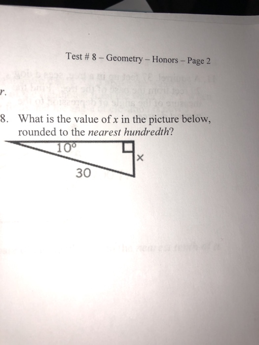 Solved: Test # 8-Geometry-Honors-Page 2 R  8  What Is The