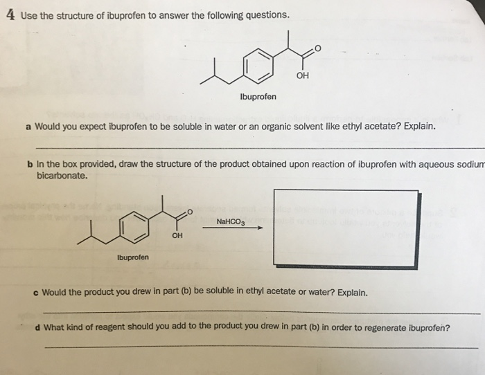Solved: 4  Use The Structure Of Ibprofen To Answer The Fol