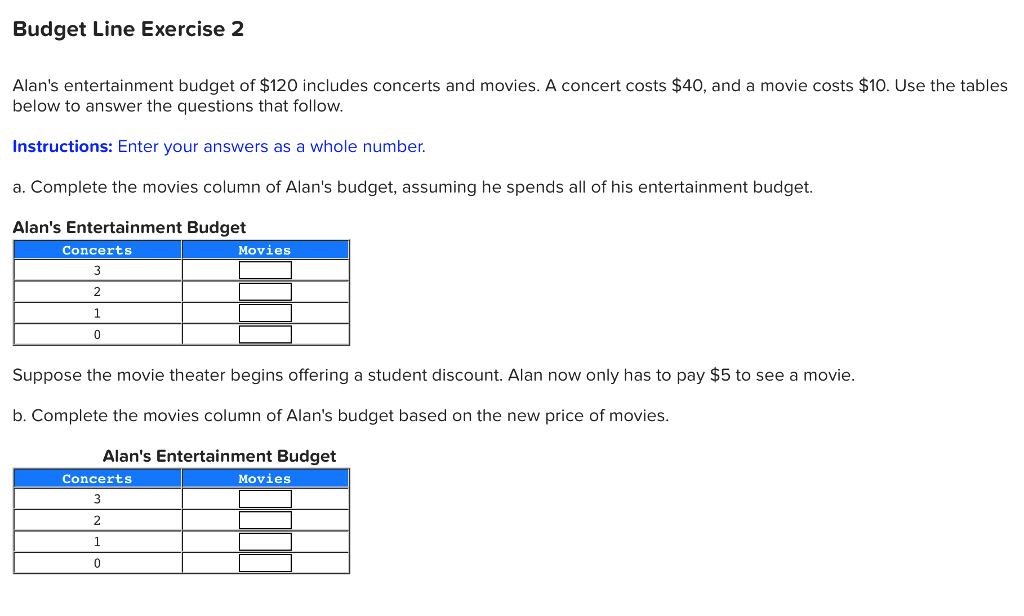 Solved: Budget Line Exercise 2 Alan's Entertainment Budget