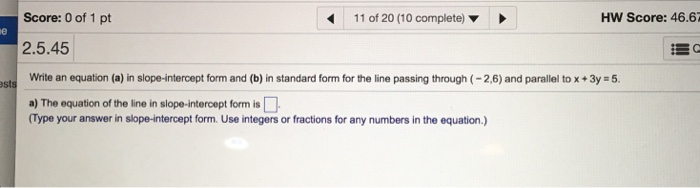 Solved Write An Equation A In Slope Intercept Form And