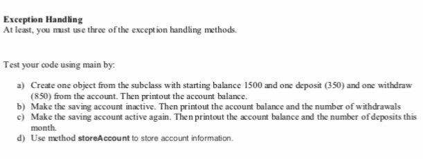 Solved: Write An BankAccount Class And A Savings Account C