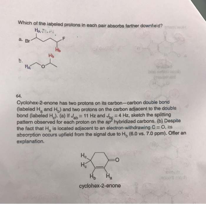 Which ot the labeled protons in each