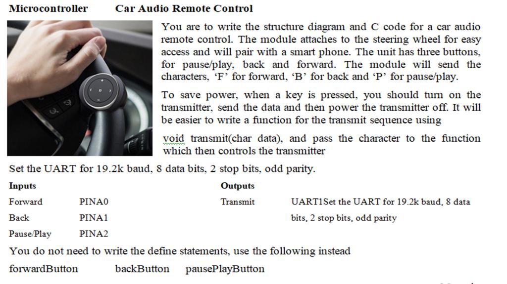 Microcontroller Car Audio Remote Control You Are T