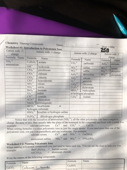 Solved: Chemistry Naming Compounds Worksheet #1 : Introduc ...