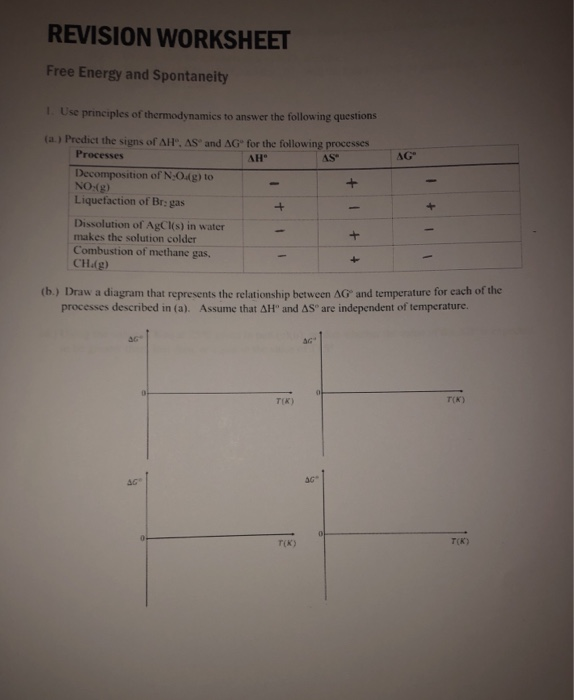 Solved: REVISION WORKSHEET Free Energy And Spontaneity 1 ...