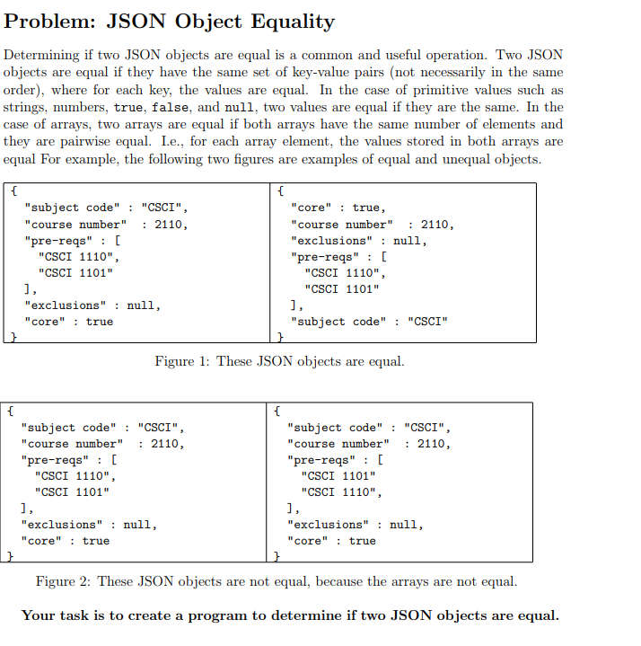 Solved: Create A Java Program That Compares If Two JSON Ob