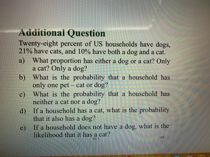 Additional Question Twenty-eight percent of US households have dogs, 21% have cats, and 10% have both a dog anda cat. a) What
