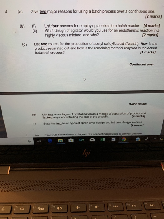 CAPE101001 SECTION A-Answer FOUR Questions 1 (a) B    | Chegg com