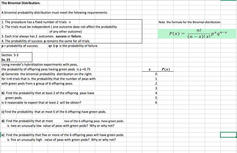 Solved: I Know There Is A Shortcut On Excel For Binomial D