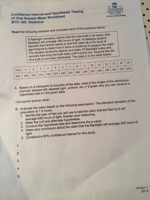 Solved: Confidence Interval And Hypothesis Testing Yerst O ...