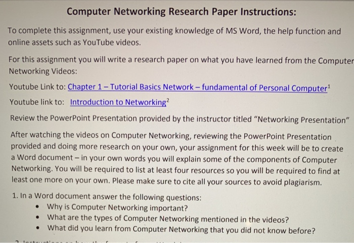 Solved: Computer Networking Research Paper Instructions: T