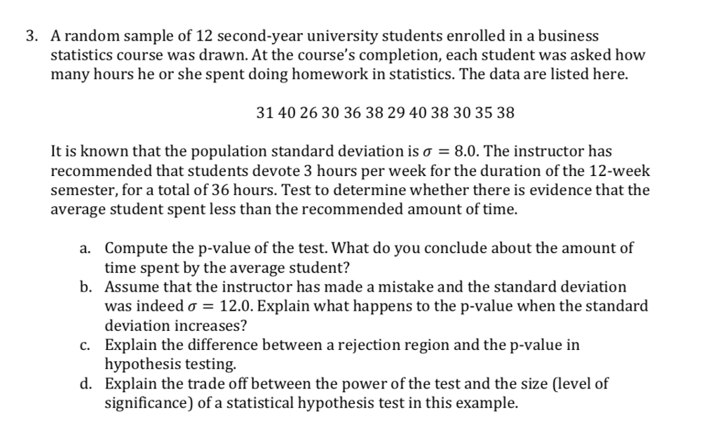 Solved: A Random Sample Of 12 Second-year University Stude