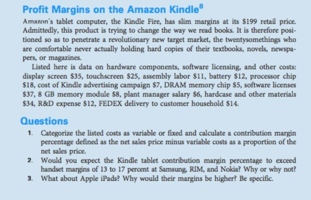 Profit Margins On The Amazon Kindle Amazon's Table    | Chegg com