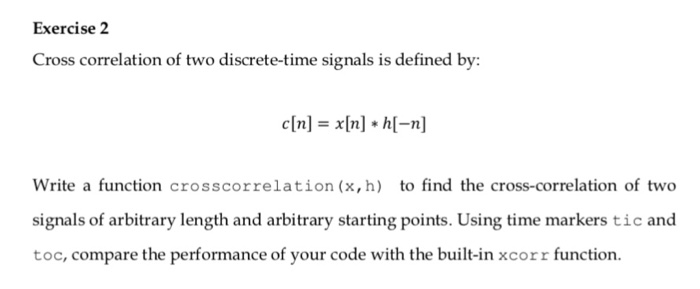 Solved: Exercise 2 Cross Correlation Of Two Discrete-time