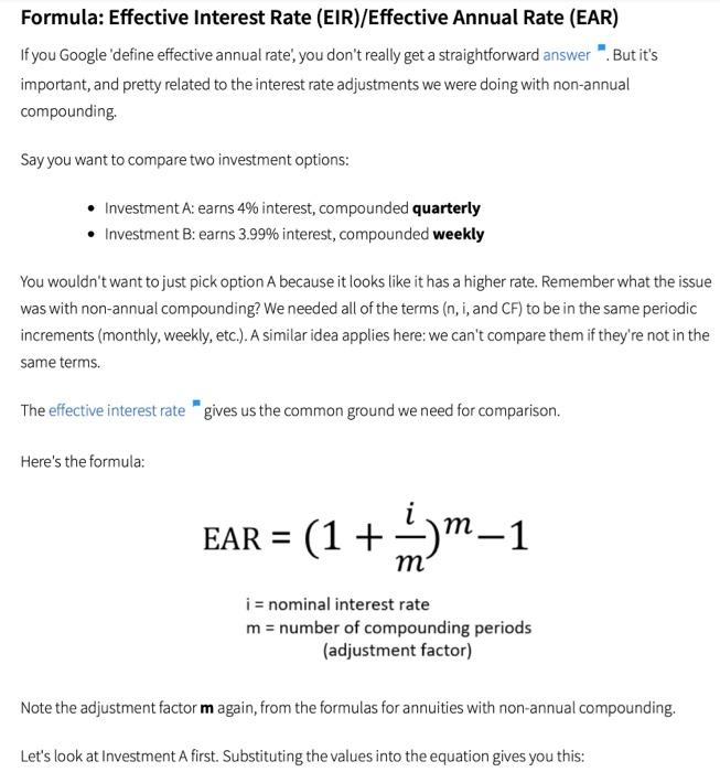 Solved Formula Effective Interest Rate Eir Effective A