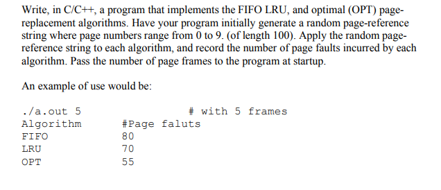 Write, In C/C++, A Program That Implements The FIF    | Chegg com