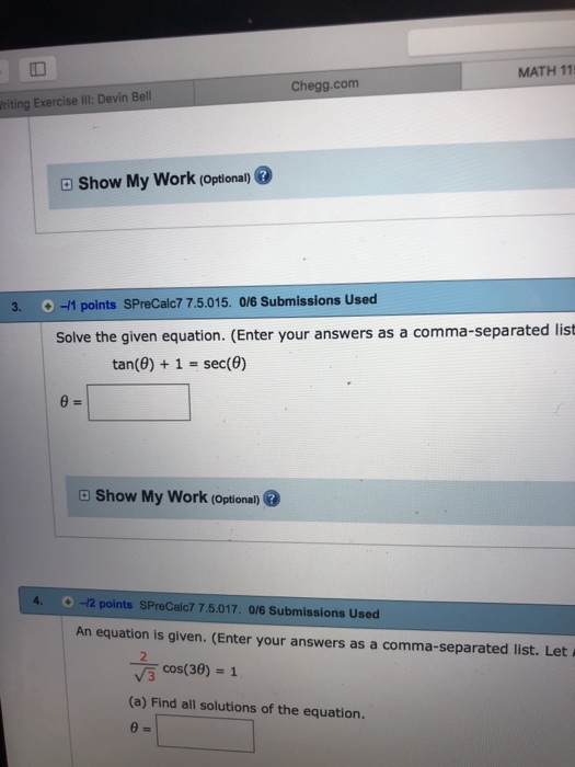 Solved: Chegg.com MATH 1150 Writing Exercise IIl: Devin Be ...