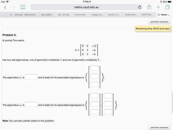 Solved: IPad令 下午8:11 * 86% Maths usyd edu au W Www go N