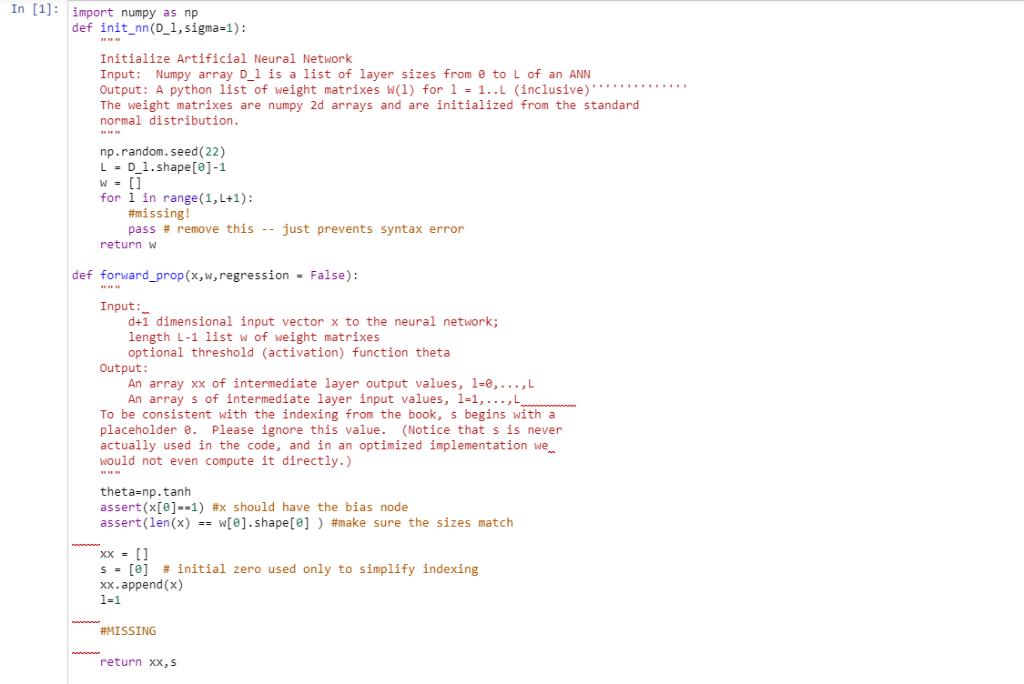 Import Numpy As Np Def Init Nn(D_1,sigma-1): Initi    | Chegg com