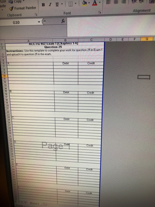 D Question 25 21 Pts Using The Excel Template For