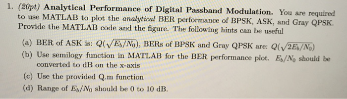 1  (20pt) Analytical Performance Of Digital Passba