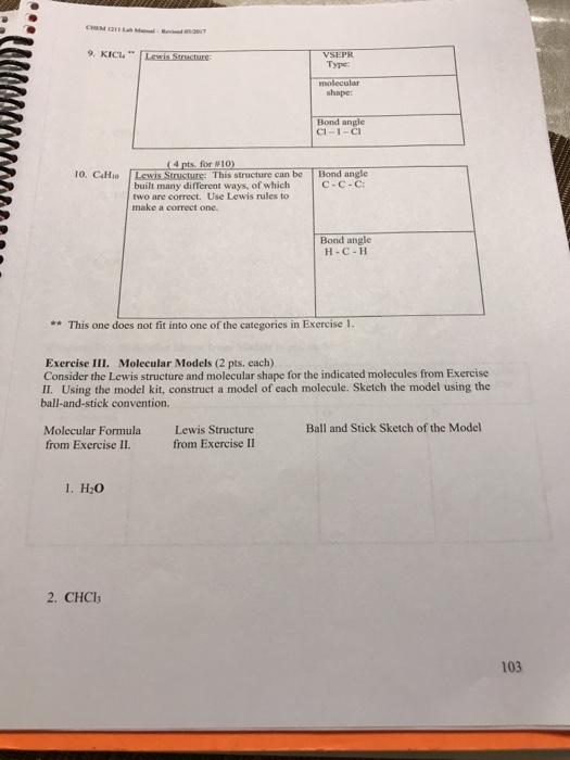 solved chem 121 lab chemical bonding and molecular struct rh chegg com General Chemistry 1 Lab Manual chemistry 122 lab manual answers