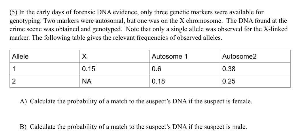 Solved 5 In The Early Days Of Forensic Dna Evidence On Chegg Com