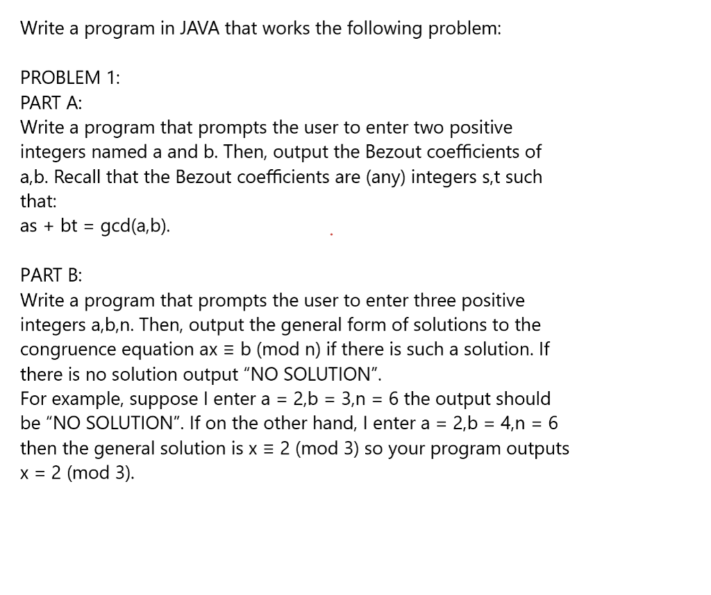 Solved: Write A Program In JAVA That Works The Following P