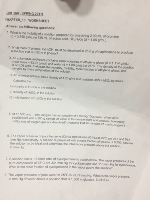 Solved: CHM 160 SPRING 2019 CHAPTER 13: WORKSHEET Answer T ...