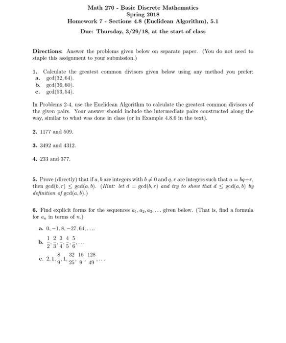 Solved: Math 270 Basic Discrete Mathematics Spring 2018 Ho