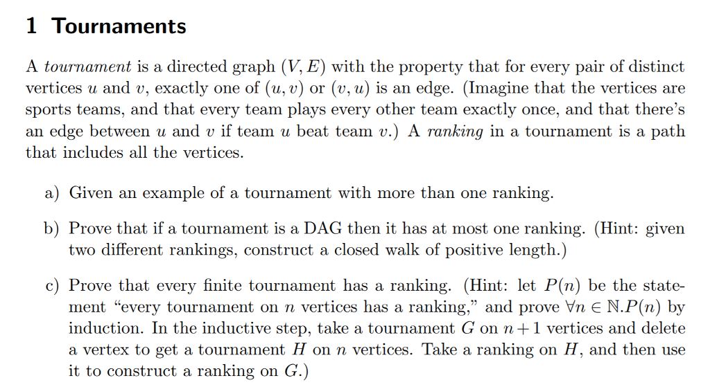 54b9c3d3af4 Solved  1 Tournaments A Tournament Is A Directed Graph (V ...
