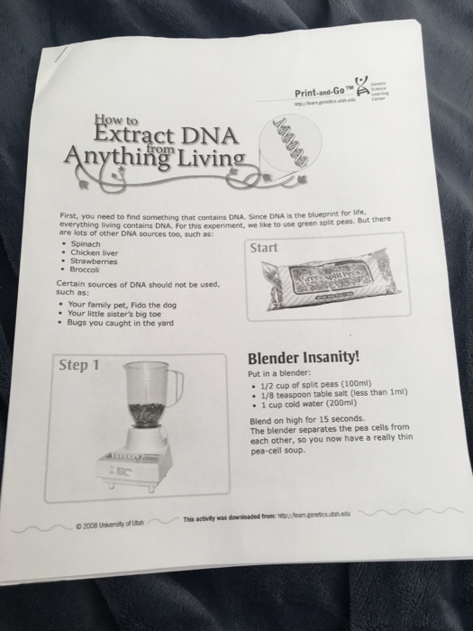 Solved: Print-and-Go W To Xtract DNA Nything Living First