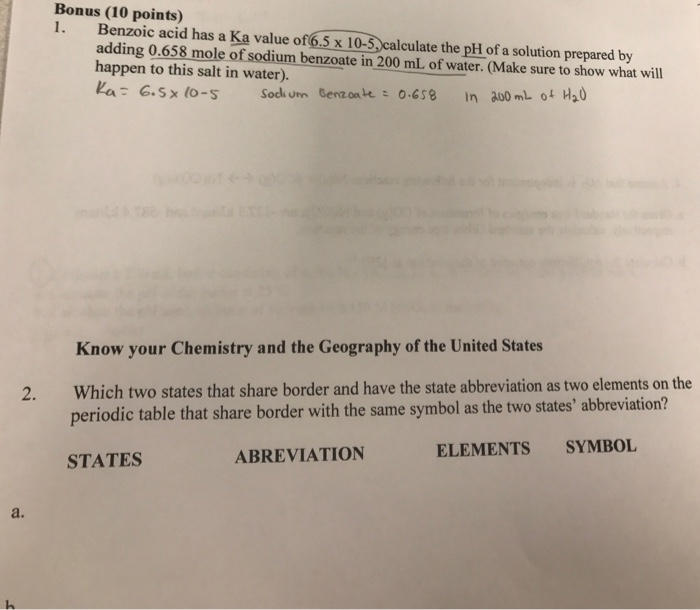 bonus 10 points 1 benzoic acid has a ka value of 65 x