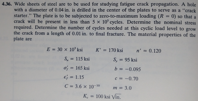 4.36. Wide sheets of steel are to be used for studying fatigue crack propagation. A hole with a diameter of 0.04 in. is drilled in the center of the plates to serve as a crack starter. The plate is to be subjected to zero-to-maximum loading (R 0) so that a crack will be present in less than 5 × 105 cycles. Determine the nominal stress required. Determine the number of cycles needed at this cyclic load level to grow the crack from a length of 0.01 in. to final fracture. The material properties of the plate are E=30×103 ksi K= 170 ksi n, = 0.120 S. 115 ksi 0; = 165 ksi S, 95 ksi b =-0.095 c =-0.70 rn = 3.0 = 1.15 C=3.6 × 10-10 K. 100 ksi Vin.