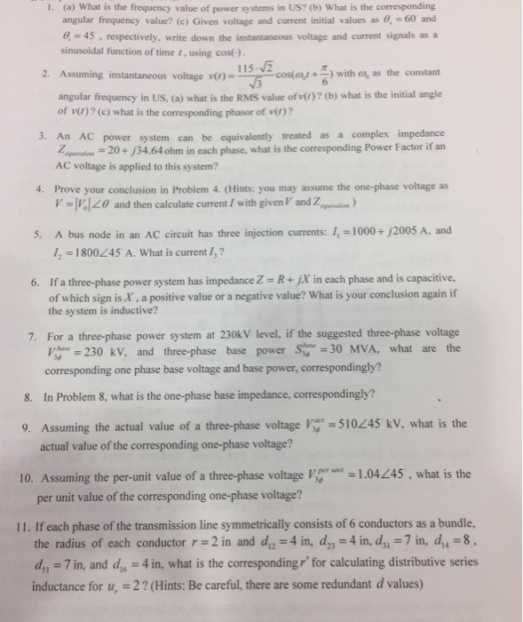 Solved: (a) What Is The Frequency Value Of Power Systems I ...