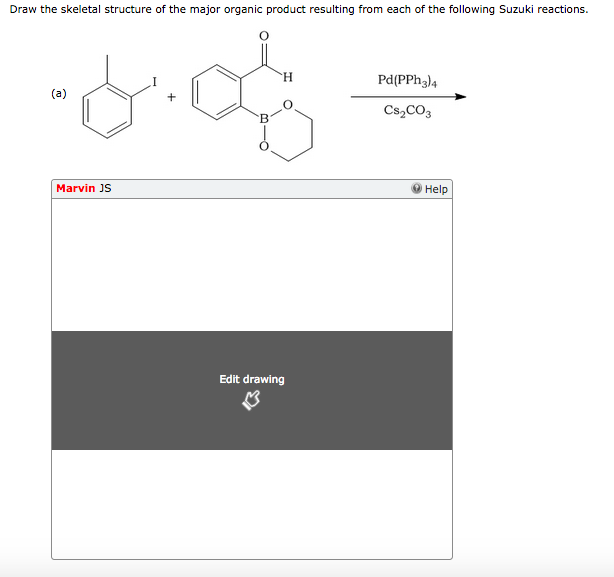 Draw the skeletal structure of the major organic product resulting from each of the following Suzuki reactions. Pd(PPh3)4 Cs2