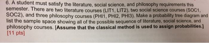 Solved: 6  A Student Must Satisfy The Literature, Social S